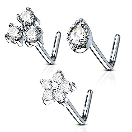 MoBody 3 Pieces L-Shaped Nose Ring Stud Set 20G Jeweled Surgical Steel Nostril Body Piercing Value Pack (Style 3) ()