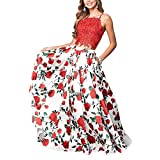 Staypretty Two Piece Floral Long Prom Dresses for Women Flower Evening gowns