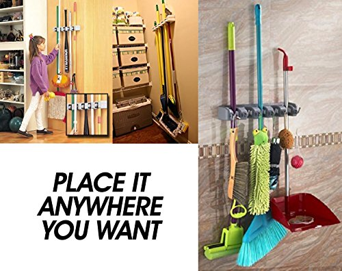 Newdora Mop Broom Holder Broom Organizer Key Rack Towel