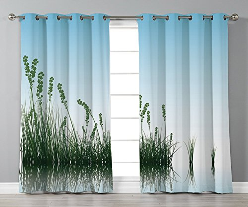 Thermal Insulated Blackout Grommet Window Curtains,Landscape,Scenery of a Lake Bushes Grass with Reflection Floral Art Image Print,Light Blue Jade Green,2 Panel Set Window Drapes,for Living Room Bedro -