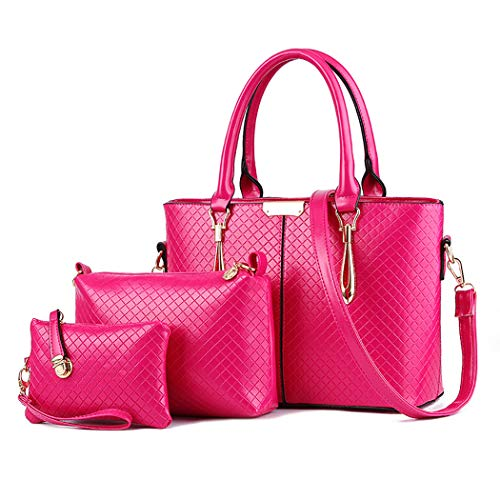 (JHVYF Women's PU Leather Top Handle Shoulder Handbag Purse Crossbody Tote Bag Set Rose Red)