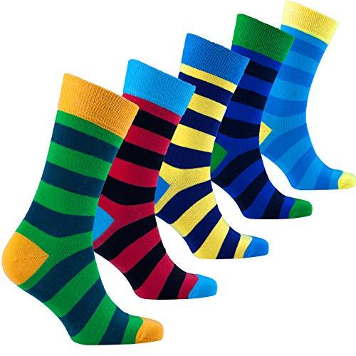 (Socks n Socks - Men's 5-pair Striped Luxury Turkish Cotton Dress Socks Gift Box)