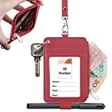 Leather Badge Holder, Plenty Heavy Duty ID Badge Wallet with Pen Loop Key Ring,5 Card Slots, 1 Side Zipper Pocket and Neck Lanyard Strap for Offices School ID, Driver Licence (Hot Pink)