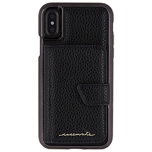 Case-mate Miroir compact Design de poche Housse avec fermoir magnétique Fermeture accessoire Idéal Boutons Métalliques pour iPhone 8–Noir