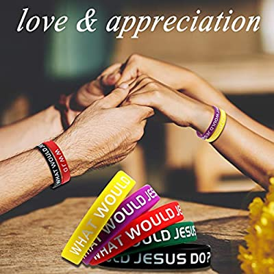 24 Pieces WWJD Rubber Bracelets What Would Do Bracelets Colorful WWJD Silicone Wristbands for Fundraiser Church Events Gifts Party Favors: Toys & Games
