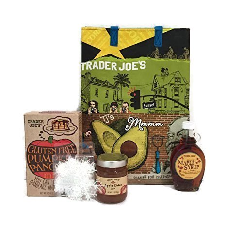 Trader Joes Gluten Free Pumpkin Pancake and Waffle Mix, TJ's Pure Maple Syrup, Apple Cider Jam and TJ's Reusable Southern Cal Grocery Tote Plus a Bonus Free Set of 9 Snowflakes by Xmas Décor-5 Items