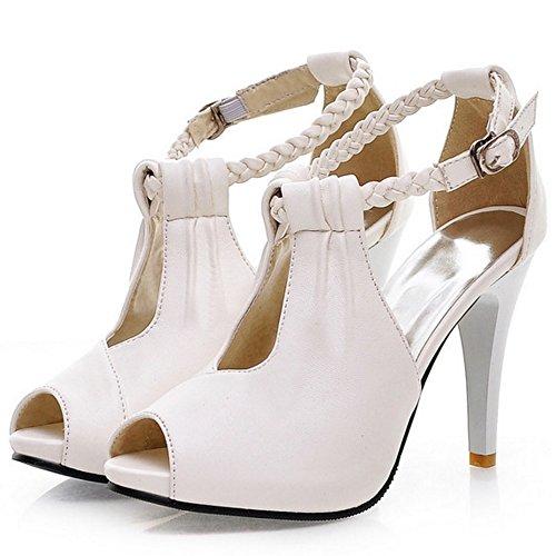 FANIMILA Mujer Moda Peep Toe Strappy Sandalias Verano Tacon Alto Delgado Zapatos Blanco