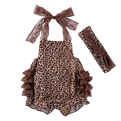 Toddler Baby Girl Clothes Sets for 0-18 Months,Comfortable Lovely Sling Leopard Print Lace Onesies Romper Jumpsuit Outfits (12-18Months, Coffee)]()