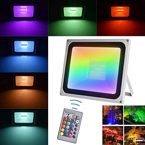 Viugreum 100W RGB LED Flood Lights Outdoor, 4 Modes 16 Colors RGB Security Floodlight with Remote Control, IP65 Waterproof Dimmable RGB Spotlight Wall Washer Light for Garden, Yard, Garage, Patio