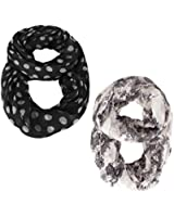 Peach Couture Best Of Both Worlds Polka Dot and Floral Sheer Infinity Scarf Loop