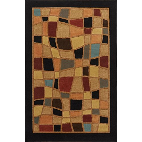 Home Dynamix Catalina Hillsby Area Rug | Geometric Living Room Area Rug | Abstract Squares Border Design | Transitional Earth Tones | Black, Brown, Red and Blue 3'3'' x5'2