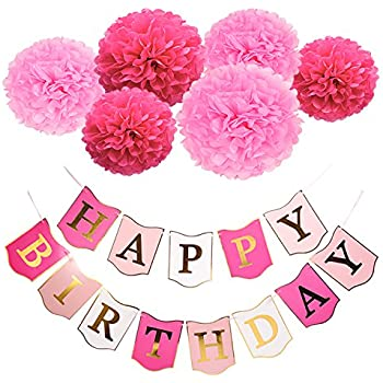 mudder happy birthday banners paper pom poms flowers with 3 meters strip for birthday party decorations