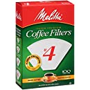 Melitta Cone Coffee Filters, White, No. 4, 100-Count Filters (Pack of 6)