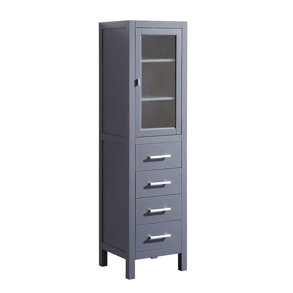 Design Element CAB004-G Pre-Assembled Linen Tower and Bathroom Storage Cabinet - Hard Wood Construction with Soft Closing Cabinet Door, Brushed Nickel Hardware - Gray by Design Element