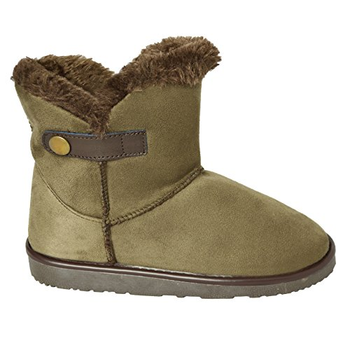 Unbranded Womens Flat Winter Warm Fur Lined Ankle Slippers Booties Khaki 3SU4vMfr