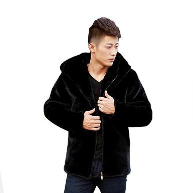 e0ec46b27 Fhillinuo Mink Faux Fur Jacket For Men With Hood at Amazon Men's ...