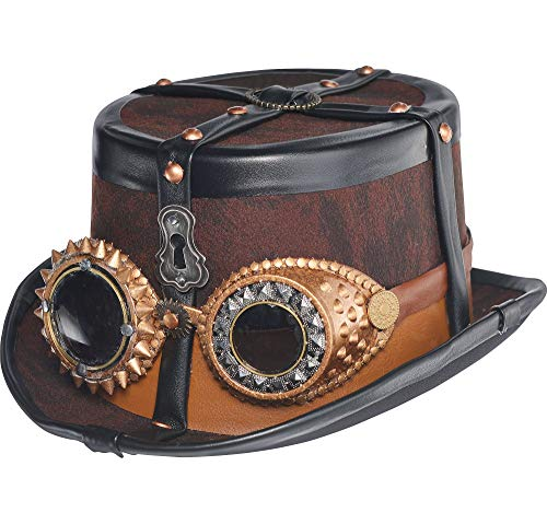 Steampunk Top Hat Deluxe Halloween Costume Accessories, One Size, by Amscan -