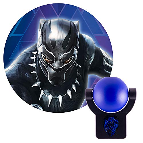 (Projectables 40980 Black Panther LED Plug-in Night Light Collector's Edition, Marvel Comics Character onto Ceiling, Wall or Floor, Blue &)