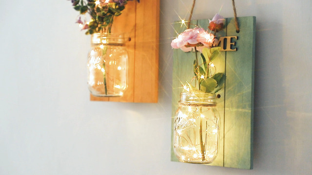 Rustic Wall Decor with Fairy Lights HABOM Mason Jar Sconce Hanging Wall Art for Indoor /& Outdoor Farmhouse Garden Yard Home Decor Battery Operated Night Lights Set of 2