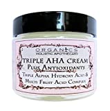 AHA Face Cream ORGANIC Natural Triple Alpha Hydroxy Acid & Multi Fruit Acids Complex. Lac­tic Acid, Glycolic Acid, Citric Acid, and Malic and Tartaric Acids Plus Antioxidants 2.5 OZ Glass Jar