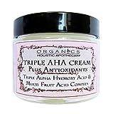 AHA Face Cream ORGANIC Natural Triple Alpha Hydroxy Acid & Multi Fruit Acids Complex. Lactic Acid, Glycolic Acid, Citric Acid, and Malic and Tartaric Acids Plus Antioxidants 2.5 OZ Glass Jar