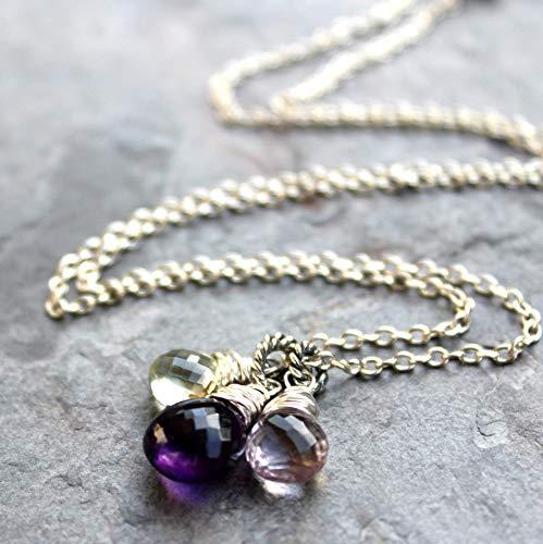 Amethyst Necklace Sterling Silver Multi Gemstone Pendants Purple Green Pink 18