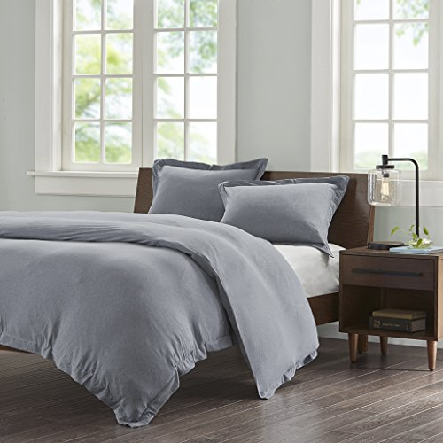 - Ink+Ivy II12-679 Jersey Cotton Duvet Cover Mini Set Full/Queen Grey