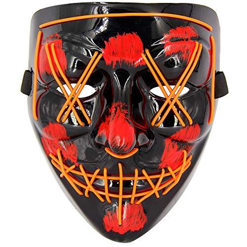 The Purge Costumes Tutorial - MeiGuiSha LED Halloween Purge Mask,Halloween Scary