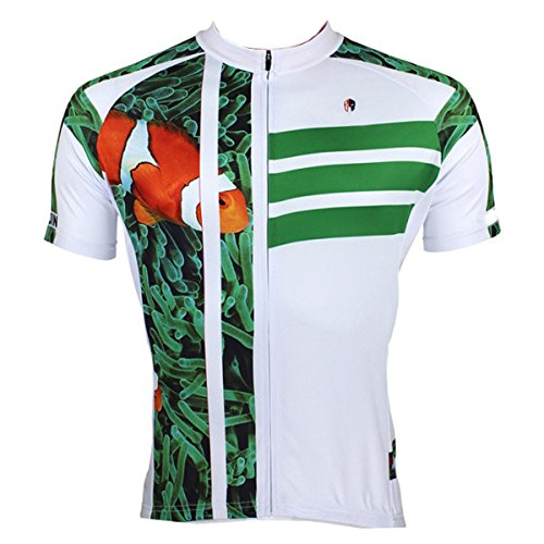 ILPALADINO Men's Cycling Jersey Short Sleeve Biking Shirts Fish Animals Pattern (XS, Clown Fish)