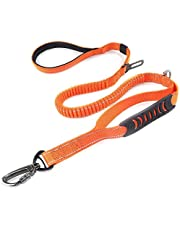 2 in 1 Dog Lead & Car Seat Belt, 150cm Reflective Anti-Shock Bungee Dog Leash with 2 Handles for Medium/Large Dogs - Pet Car Safety Harness