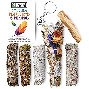 JL Local Ancient Energy 6pc Smudging Kit Sampler: Natural Flower Sage, White Sage, Yerba Santa, Blue Sage, Juniper Sage, Palo Santo Smudge Stick + Instructions & Kokopelli Good Luck Charm!