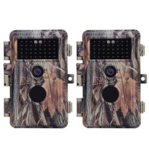 BlazeVideo 2-Pack 16MP Photo 1920x1080P Video Game & Trail Hunting Cameras Wildlife Deer Cam No Glow IR Motion Sensor Activated 0.6S Trigger IP66 Waterproof with 65ft Night Vision, Photo & -