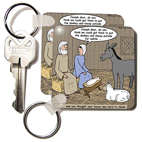 3dRose Rich Diesslin - Nativity Animals - Key Chains, 2.25 x 2.25