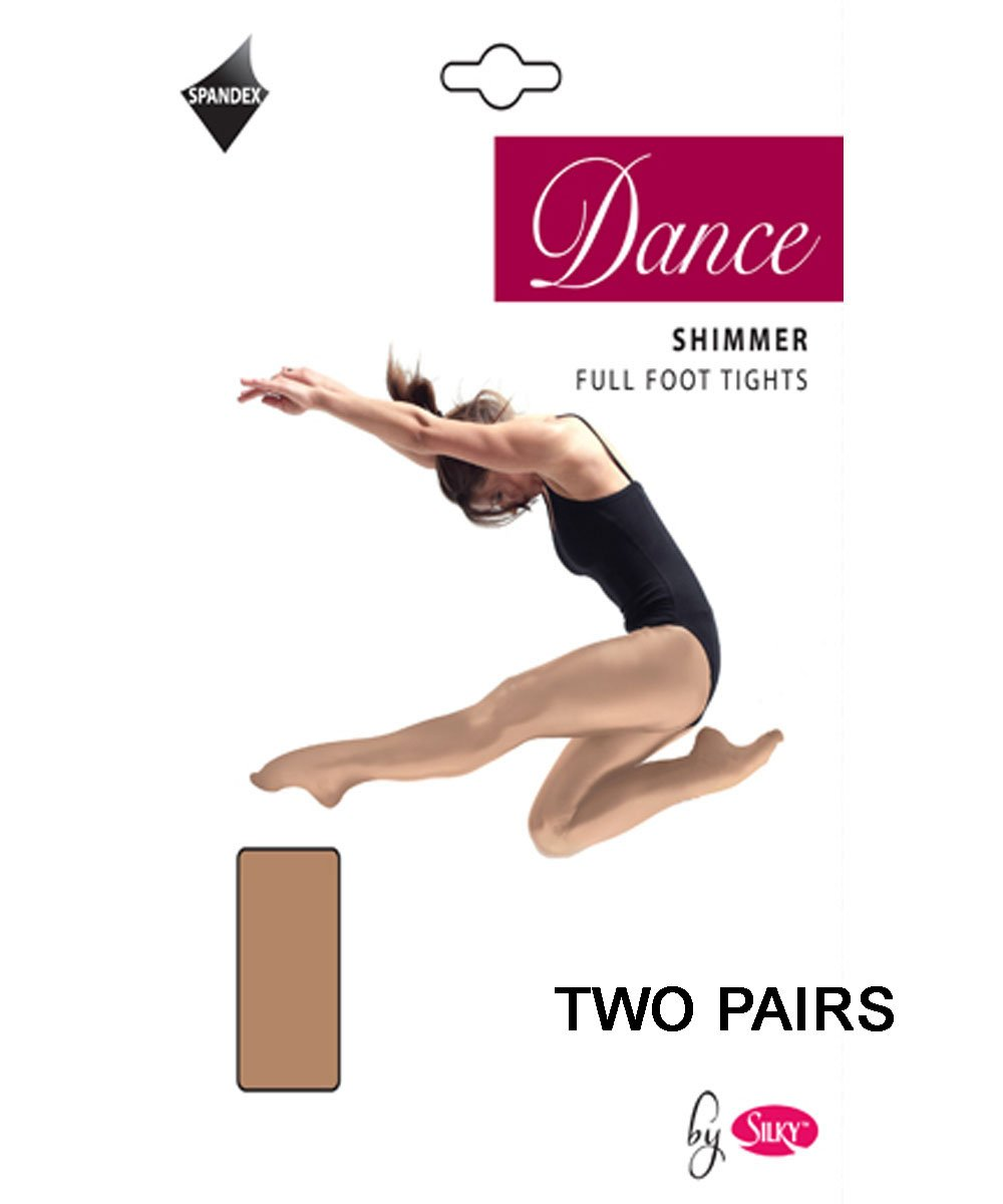 2 Pairs Silky Childrens Girls Full Foot Shimmer Dance Ballet Tights 2 Pairs