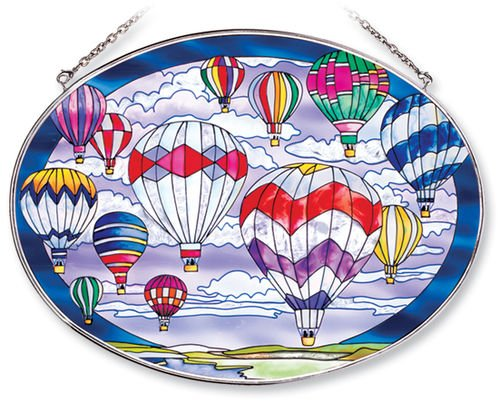 Amia Oval Suncatcher with Hot Air Balloon Design, Hand Painted Glass, 6-1/2-Inch by 9-Inch]()
