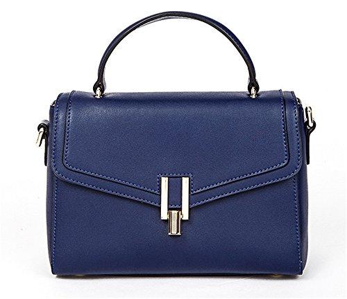 Xinmaoyuan Mujer Señoras bolsos de cuero Bolso de hebilla cuadrada pequeña portátil femenino Bolsa Bolso Bolso Messenger Blue
