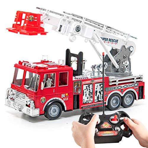 Prextex RC Fire Engine Truck Remote Control 13-Inch Rescue Fire Truck with 17-Inch Extendable Ladder and Lights and Sirens Best Gift Toy for Boys (Controlled Remote Firetruck)