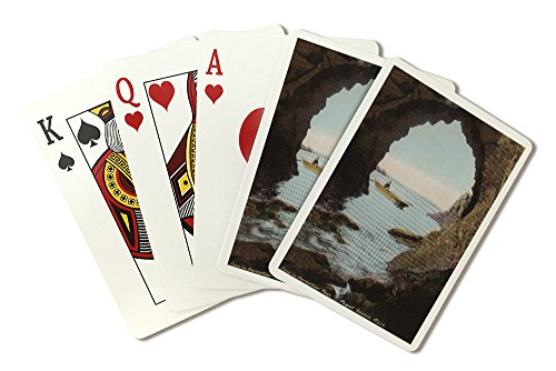 Puget Sound, WA - Cave in Deception Pass with Boater (Playing Card Deck - 52 Card Poker Size with Jokers) ()