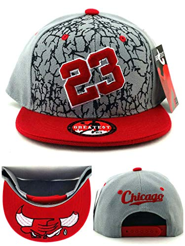- Leader of the Game Chicago New Greatest 23 MJ Kids Youth Jordan Bulls Gray Red Black Cement Era Snapback Hat Cap 19in to 21in Head Size