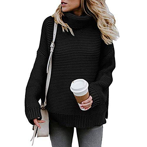 Women Turtleneck Knitted Sweater,Cenglings Loose Long Sleeve Puff Sleeve Top Blouse ()