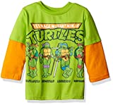 Teenage Mutant Ninja Turtles Toddler Boys Long Sleeve Two-Fer T-Shirt with Thermal Sleeves, Green, 3T