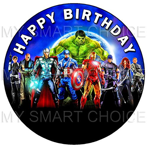 7.5 Inch Edible Cake Toppers – Team Avengers Themed Birthday Party Collection of Edible Cake -
