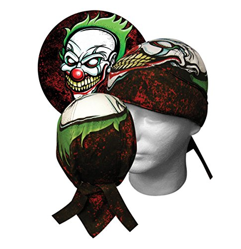 Super Deluxe Large Thick Biker Doo Rag Headwrap Killer Clown Durag & Sweatband ()