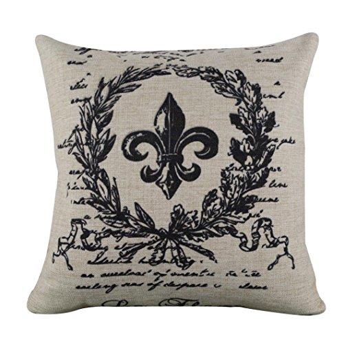 Hatop Black Word Fleur De Lis Burlap Cushion Covers Pillow Case (B) (Cushions De Fleur Lis Chair)