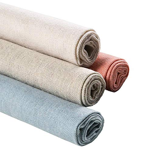 Natural Linen Needlework Fabric 4 Pcs, 20 Inch Linen Fabric Making Garment Craft for Dressmaking Curtain Wedding Home Decor Patchwork Apparel Upholstery Flower Pot Decoration and Tablecloth, 4 Colors