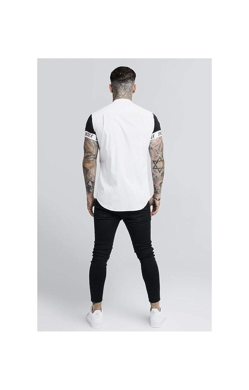 SIK SILK Mens 14232 S//S Grandad Collar Tech Shirt White
