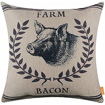 Amazon Com Linkwell 18 Quot X18 Quot Farm Bacon Pig Burlap Pillow