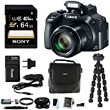 Canon PowerShot SX60 HS 16.1MP Digital Camera with 65x Optical Zoom and Built-in WiFi/ NFC + 64GB Deluxe Accessory Bundle