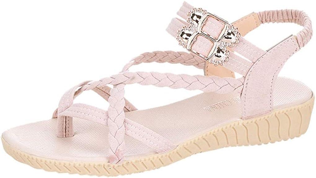 ZEZKT Sandales Femmes Plates Sandale Plate Style Cuir Femme