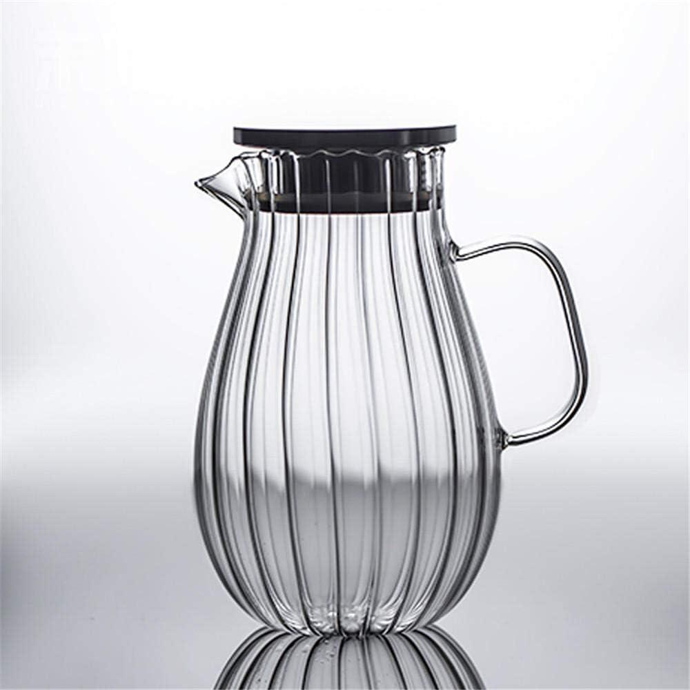 ZXL Jarra de 2.0 litros/litro, Jarra de Vidrio de Gran Capacidad Botella de Agua fría con Tapa, Jarra fría de té de Frutas, Jarra de Vidrio y Cierre de Primer Plano, 1600 ml